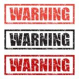 警告邮票设置了用在白色背景的不同的颜色 向量例证