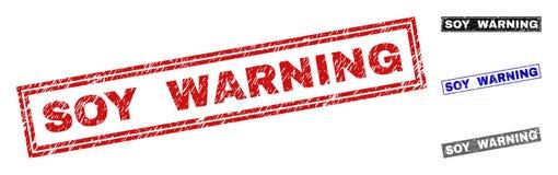 警告难看的东西的大豆被抓的长方形邮票封印 库存例证
