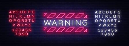 警告霓虹文本传染媒介 危险地带霓虹灯广告,设计模板,现代趋向设计,夜霓虹牌,夜 向量例证