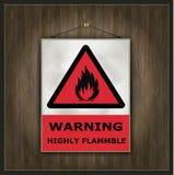 警告黑板的标志高度易燃的木头 免版税库存照片