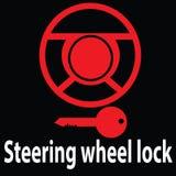警告仪表灯和标志 方向盘锁- immobiliser DTC代码符号 象传染媒介例证 红颜色 皇族释放例证