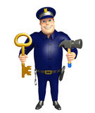 警察与和锤子 免版税库存照片