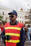警察为奥巴马总统汽车队守卫在哈瓦那,古巴2016年 免版税图库摄影
