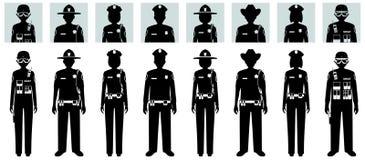警察人概念 套不同的黑剪影和拍打官员、警察、女警和警长具体化象  库存例证