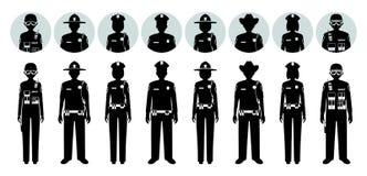 警察人概念 套不同的黑剪影和拍打官员,警察,女警具体化象和 库存例证