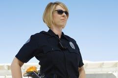 警察佩带的太阳镜 库存照片