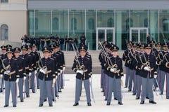 警察军校学生的部署 免版税库存图片