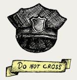警察加盖。 乱画样式 免版税图库摄影