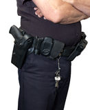 警察卫兵枪手枪皮套查出的警察证券 免版税库存图片