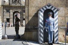 警察和战士站立为保护安全的制服的在前边布拉格城堡  库存图片