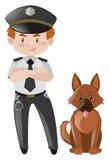 警察和棕色狗 向量例证