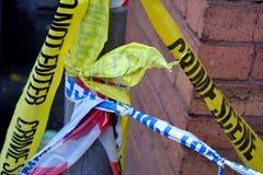 警察和犯罪现场磁带 图库摄影