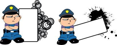 警察哄骗表示脾气坏动画片的copyspace 免版税库存照片