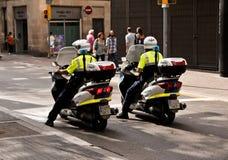 警察在巴塞罗那 库存照片