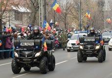 警察在ATVs巡逻 免版税图库摄影