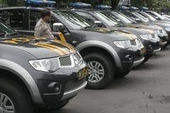 警察在SUKOHARJO的安全警戒竞选 免版税库存图片