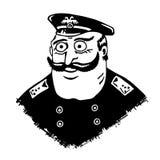 警察局长 制服和肩章的人 法律的老实人 有凸起的眼睛的长着大髭须的人 喜剧人物 图库摄影