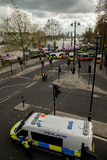 警察护送抗议游行-伦敦 库存照片