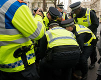 警察拘捕-抗议游行-伦敦 库存图片
