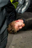 警察拘捕-抗议游行-伦敦 图库摄影