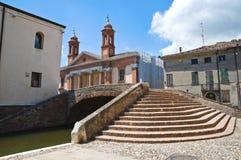 警察桥梁。 Comacchio。 伊米莉亚-罗马甘。 意大利。 库存照片