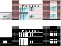 警察概念 在平的样式的白色背景隔绝的另外亲切的警察局大厦:上色和 皇族释放例证