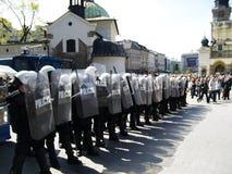 警察波兰暴乱 免版税库存图片