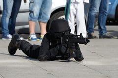 警察特种部队训练  库存照片