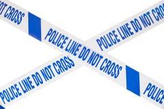 警察犯罪现场磁带十字架和白色拷贝空间 库存图片