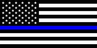 警察稀薄的蓝线旗子 库存照片