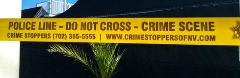 警察线-犯罪现场-没有跨的拉斯维加斯/内华达- 2017年10月20日 免版税库存照片