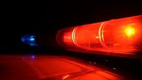 警察蓝色和红色灯闪动 股票录像