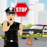 警察藏品停车牌和陈列停止姿态警告关于事故在警车附近 库存图片
