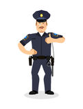 警察赞许 签字不错 快乐的Kop 警察手 免版税图库摄影