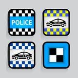 警察-在灰色背景的集合贴纸正方形 库存照片