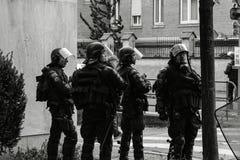 警察secruing街道的gerdarms官员分谴舰队在史特拉斯堡 免版税库存图片