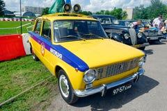 警察VAZ-2101葡萄酒车的储蓄图象 免版税库存照片