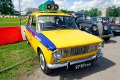 警察VAZ-2101葡萄酒车的储蓄图象 免版税库存图片