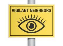 警惕邻居标志 库存照片