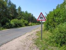 警报信号& x22;季节性牲畜移动& x22; 库存图片