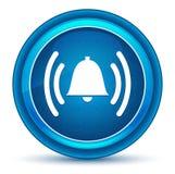 警报敲响的响铃象眼珠蓝色圆的按钮 库存例证