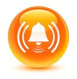 警报象玻璃状橙色圆的按钮 库存照片