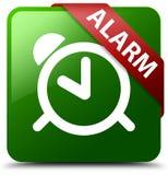 警报绿色方形的按钮 免版税库存照片