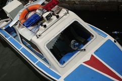 水警艇在中国西塘镇 库存图片