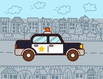 警车在城市 库存例证
