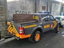 警车在巴厘岛的印度尼西亚在Karangasem地区 库存照片