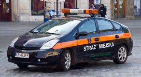 警车在波兰 库存图片