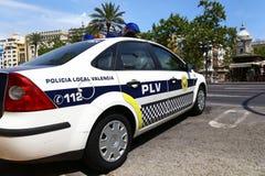 警车在巴伦西亚,西班牙 库存照片