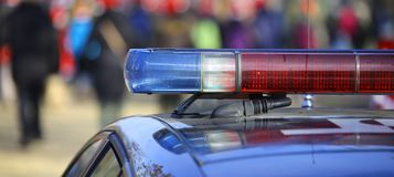 警车的蓝色和红色警报器 库存图片