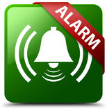 警钟象绿色正方形按钮 免版税库存照片